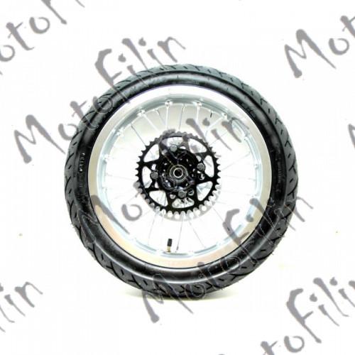 """Колесо в сборе 14"""". Алюминиевый диск, дорожная резина, звезда, тормозной диск."""